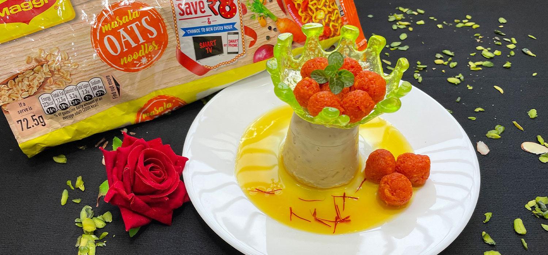 MAGGI Panna Cotta with Saffron Sauce and Carrot Halwa Balls Recipe